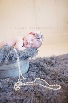 Gray and whites with pearls and headband in a vintage bucket little newborn baby girl   Newborn photos pose idea from Hamilton Burlington Ontario. Newborn Photographer, Newborn Photography, southwestern ontario, in studio  Sandra Hext Photography  girl female