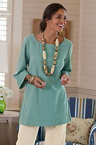 Great Gauze Tunic I - Gauze Tunic Top, Gauze Tunic Shirt Traje Casual, Casual Wear, Tunic Shirt, Tunic Tops, Facon, Fashion Over 50, Clothes For Women, Soft Surroundings, My Style