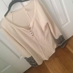 NWOT free people thermal NWOT free people thermal. button chest, with black and white cuffs. size large. never worn! Free People Tops