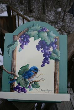Bluebird with purple concord grapes and vine painting in Tuscany style Recipe Box by sherrylpaintz.