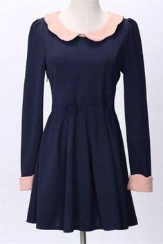 Elegant Doll Collar Fold Design Puff Sleeve Dress