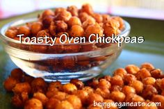 Toasty Oven Chickpeas You can't just eat one! This delicious snack is highly addictive and packed with protein. And did we mention easy? Great for on the go snacking! Appetizer Dips, Appetizer Recipes, Snack Recipes, Cooking Recipes, Diet Recipes, Party Appetizers, Cooking Tools, Oven Roasted Chickpeas, Recipes