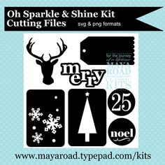 free holiday Sparkle & Shine digital cutting files from Maya Road (SVG and PNG formats) perfect for Christmas die cuts