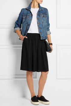 Chinti and Parker|Ruffle-trimmed crepe skirt|NET-A-PORTER.COM