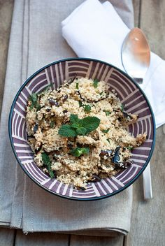 Eggplant and mint couscous