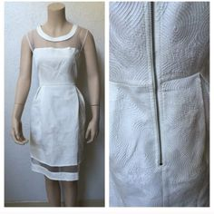 Beautiful White Dress Beautiful white dress with sheer top, amazing swirl detail in the dress. Back zipper with pleats. Perfect for summer, wedding, or an All White Party!!! Black Dresses