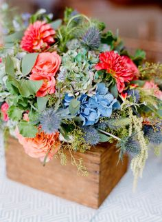 love these antique boxes with the thistle and hydrangea