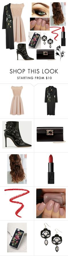 """""""Black Floral"""" by fashion-1993 ❤ liked on Polyvore featuring Little Mistress, Topshop, Roger Vivier, Urban Outfitters, NARS Cosmetics and Zero Gravity"""