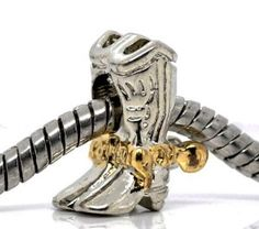 Amazon.com: Silver and Gold Plated Cowboy Boots Bead Charm Spacer Bead Fits European Pugster Pandora Troll Other Type Bracelet: Sold by ChiChi Beads: Jewelry
