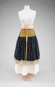 Apron.  Date: fourth quarter 19th century. Culture: Slovak. Medium: cotton, silk, wool. Dimensions: Length at CB: 30 1/4 in. (76.8 cm).