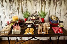 This is a spread for a 2 year old boy's birthday... but it also looks like something you'd find at @Melinda Conners' wedding! MERP.