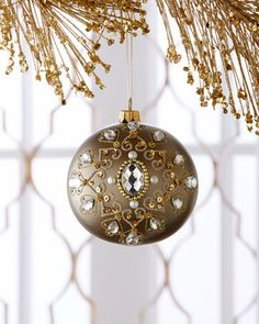Embellished+Antiqued-Gold+Metallic+Christmas+Ball+Ornament+at+Horchow.