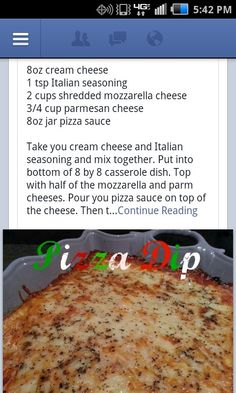 Then top with remaining cheese, sprinkle with more seasoning, and bake at 350' for 30 minutes.....yup, its that easy! SERVE WITH CRACKERS OR NACHO'S---I would add some pepperoni and other toppings...