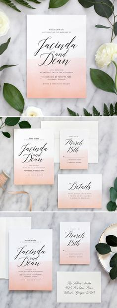 Ombre watercolor invitations by Fine Day Press in custom Peach color. Printed on luxe cotton stock.