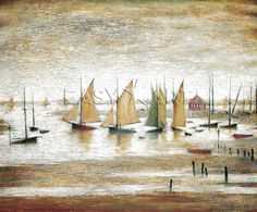 Yachts at Lytham - L S Lowry Medici Print English Artists, British Artists, Cool Posters, Beautiful Paintings, Painting & Drawing, Find Art, Framed Art, My Arts, Art Prints