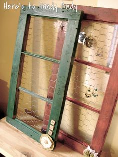 Here's to Handy Andy: Barn Window Jewelry Holder but shabby white or cream:)