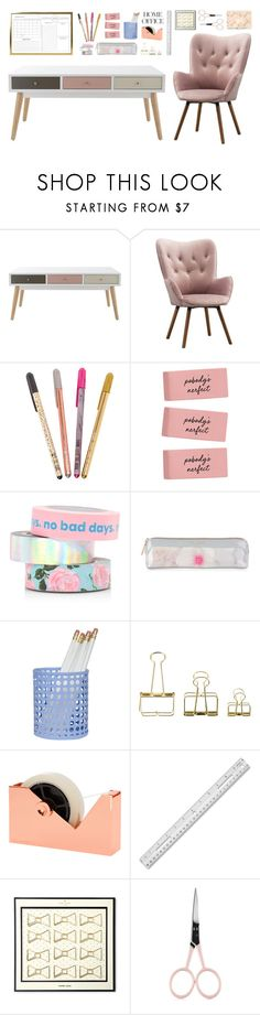 """""""Home Office"""" by lilymadelyn ❤ liked on Polyvore featuring interior, interiors, interior design, home, home decor, interior decorating, ban.do, Ted Baker, HAY and Tom Dixon"""