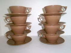 8 Melamine Cups and Saucers by @theheritageohio #melmac