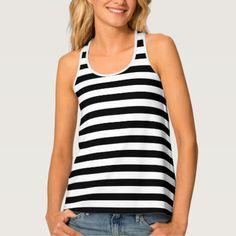 #stripes - #Womens Tank Top-Black & White Stripes