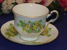 Queen Anne Bone China Cup Saucer Set Yellow Floral