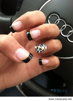 French nails with black and white | See more at http://www.nailsss.com/... | See more at http://www.nailsss.com/colorful-nail-designs/2/
