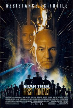 1996 film. The crew of the USS Enterprise-E travel from the 24th to 21st century to save their future after the cybernetic Borg conquered Earth by changing the timeline.