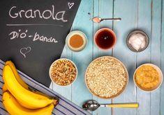 Diós-banános granola recept Granola, Chia Puding, Cereal, Food And Drink, Snacks, Vegetables, Breakfast, Dios, Morning Coffee