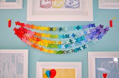 Rainbow Paint Chip Garland - I would feel guilty taking the paint chips though so, It might be better to just purchase pretty color paper instead ;)