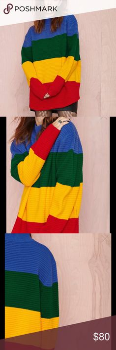 #533 We might have outgrown coloring, but this UNIF sweater is most definitely on our radar. It features colorful stripes, ribbed fabric, and a mock neck. Designed to fit oversized, unlined. Wear it with a leather skirt and sky-high platforms--coloring book not included.  *Acrylic  *Runs true to size  *Model is wearing size x-small  *Hand wash cold  *Imported UNIF Sweaters