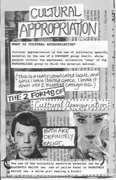 "(1 of 4) Cultural Appropriation  What is cultural appropriation? Cultural appropriation is the use of culturally specific material by the use of a DOMINANT group (hello, white people) without the expressed, collective ""okay"" of the MARGINALIZED group to which the material belongs.  [click on this image to find a short video and analysis that draws on footage of Miley Cyrus twerking to explain what Bell Hooks [bell hooks] means by ""Eating the Other""]"