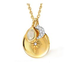 Missoma - Gold Round Charm Necklace with Diamond Moon Sterling Silver Chains, Sterling Silver Pendants, Missoma Jewellery, Coin Necklace, Pendant Necklace, Rings Online, Gold Stars, Jewelry Branding, Wedding Rings