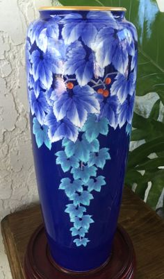 KORANSHA AIZEN VASE Stunning 藍染ぶどう Grapes by GuamAntiquesNstuff