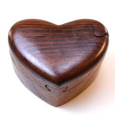 Puzzle Box   Wooden heart puzzle box, ring box, keepsake box