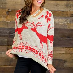 Can you tell I have a thing for reindeer sweaters? (Season's Greetings Red Oversized Reindeer Sweater | Amazing Lace)