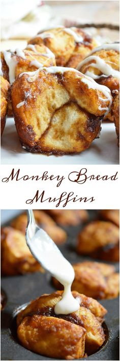 Monkey Bread Muffins – Video Need an easy breakfast recipe that will feed your hungry crowd? These Monkey Bread Muffins are made with just 4 ingredients and take no time at all! Like sticky buns with a cream cheese glaze without all the hassle. Brunch Recipes, Breakfast Recipes, Breakfast Ideas, Monkey Bread Muffins, Monkey Bread Glaze Recipe, Monkey Bread With Biscuits, Monkey Bread Easy, Donut Muffins, Scones