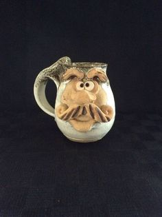 Rare Unique Handcrafted 3D Art Pottery Glazed Character Coffee Cup Face Mug Man