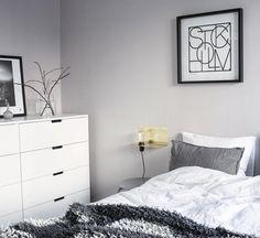 Ikea 'Nordli' dresser in grey & white bedroom with golden accent @linneasinterior