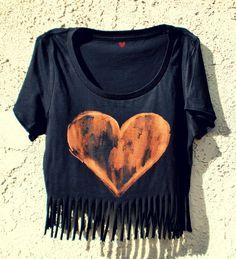 Crop Tee, Tassel, Heart Print, Boho Hippie (Black, Small). $25.00, via Etsy.
