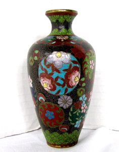 Japanese Cloisonne Tea Jar (Tea Caddy), Black Ground w/Butterfly, from owensantiques on Ruby Lane