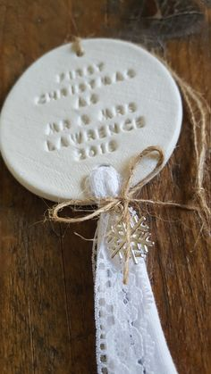 Beths Clay Cottage - A white clay handstamped ornament with First Christmas as mr & mrs which can be personalised. This ornament would make a perfect Christmas gift or a great wedding gift!  Each ornament is handmade en personal made for you!  Please leave your personalization info in the notes to seller section at checkout.