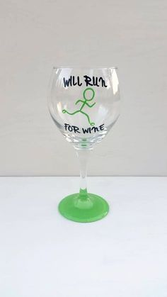 Will Run For Wine Hand Painted Wine Glass by CrystalsGlassDesigns