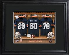 Auburn Tigers College Football Locker Room Print features team jerseys that can be personalized with your name. Available from Arttowngifts.com.