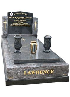 Paradiso and Royal Black Indian Granite full monument cemetery memorial for Mr Lawrence at the Springvale Botanical Cemetery.