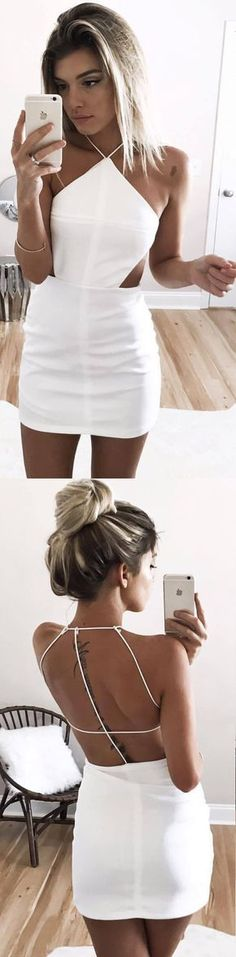 Sexy Sheath Halter W Sexy Sheath Halter White Satin Mini Homecoming Dress Hoco Dresses, Homecoming Dresses, Cute Dresses, Vintage Dresses, Cute Outfits, Formal Dresses, Tight Dresses, College Outfits, College Fun