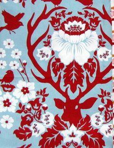 Winter Deer Valley Antler Damask Red Blue Joel Dewberry by stitchbyzura on Etsy