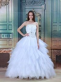 Strapless Taffeta and Tulle Ball Gown with Beaded Bodice and Layered Skirt
