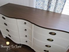 """Top painted with """"Leather Boots"""" by American Paint Company, with Daddy Van's Decorative Dark Wax over it. I have this dresser! Dark Wood Dresser, White Painted Dressers, Stained Dresser, Brown Dresser, Painted Bedroom Furniture, Brown Furniture, Chalk Paint Furniture, Furniture Refinishing, Furniture Ideas"""