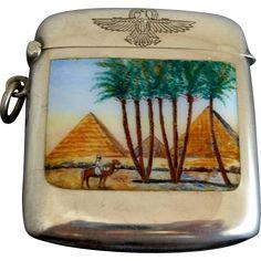 #VintageBeginsHere at www.rubylane.com @rubylanecom --Art Deco Egyptian Revival 900 Silver Match Safe