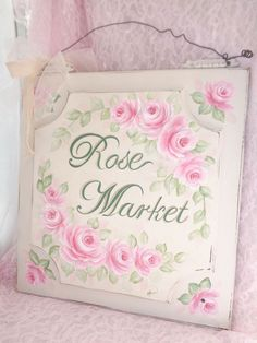 GORGEOUS PLAQUE ~ROSE MARKET~ hp chic shabby vintage cottage hand painted pink   #HEAVYVINTAGEWOOD #SHABBYCHIC