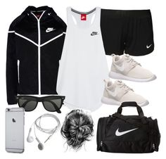 """""""Style #9370"""" by vany-alvarado ❤ liked on Polyvore featuring NIKE, Ray-Ban, women's clothing, women's fashion, women, female, woman, misses and juniors"""